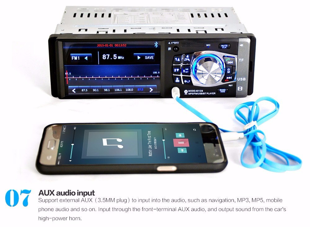 Radio Car Mp4 Mp5 Player,1 Din HD 4.1 Inch Video Player With Rearview Camera Bluetooth Remote Control Stereo Aux Fm Usb Sd