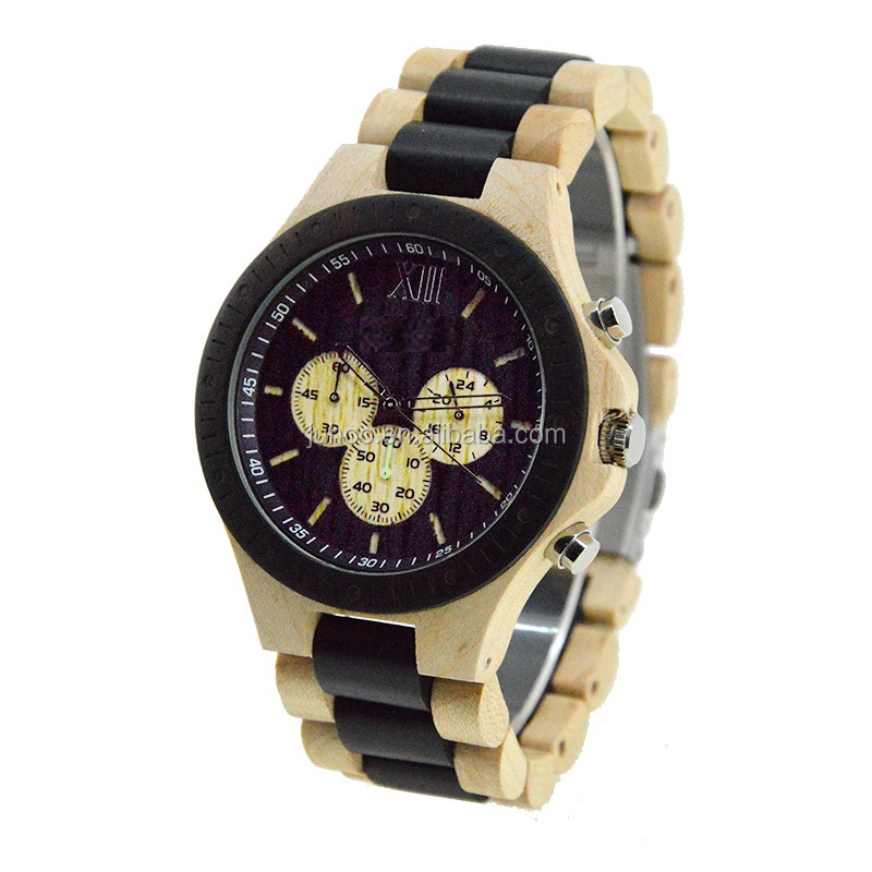 2017 elegant men watch big dial with three eyes multifunction wood watch maple and balck sandal wooden watch