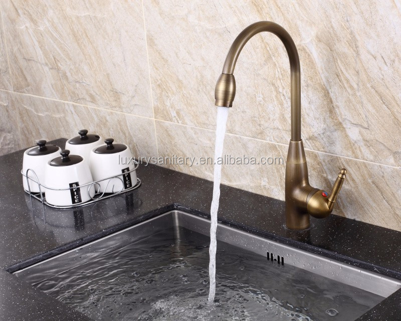 single handle hot and cold water brass antique bronze kitchen sink tap