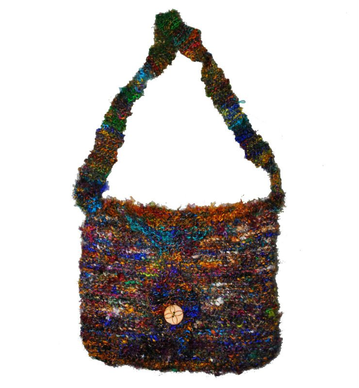 Recycled silk handknitted bags