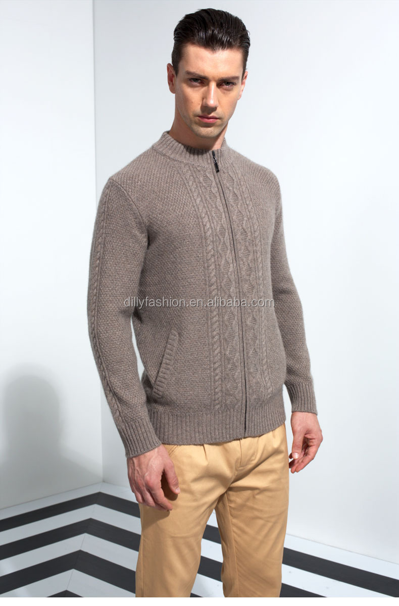 Free Knitting Pattern Full Zipper Front High Collar Mens Wool ...