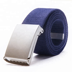 Canvas Web Woven Colorful Polyester Cotton Braided Belt With Metal Buckle