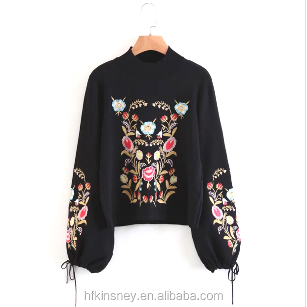 KS30046A Fashion Autumn Ladies Lantern Sleeve Casual Tops Fancy Women Floral Emroidery Sweater