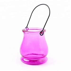 Wholesale Decorative Hanging Pumpkin Shaped Cute Tealight Candle Cups Jar Wedding Hollow Glass Candle Holder