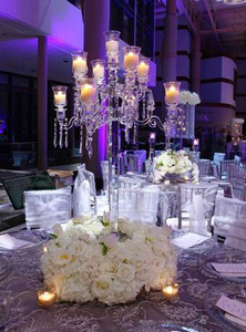 tall 9 arms crystal candelabra for wedding centerpiece