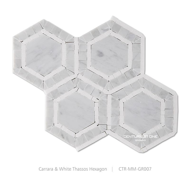 Polished Hexagon Marble Mosaic Tile White Floor Tiles