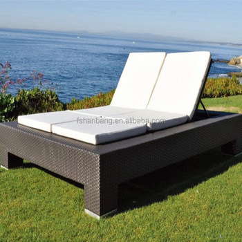 Wicker Double Chaise Lounge Awning Outdoor Patio Furniture Sun Bed Set