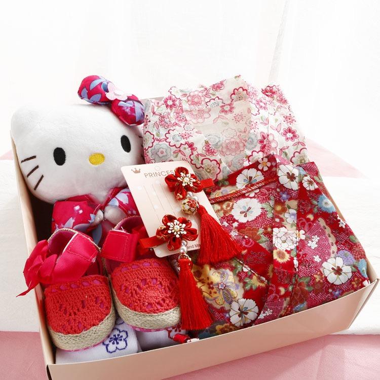 सकुरा कार्टून शुद्ध कपास किमोनो उपहार बॉक्स राजकुमारी जापान नवजात एक साल का बच्चा वसंत और गर्मियों उपहार