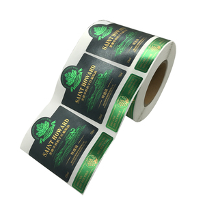 Custom factory printed reverseUV green foil stamping wine label