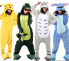 wholesale soft fannel adult and kids animal pajamas couple onesie