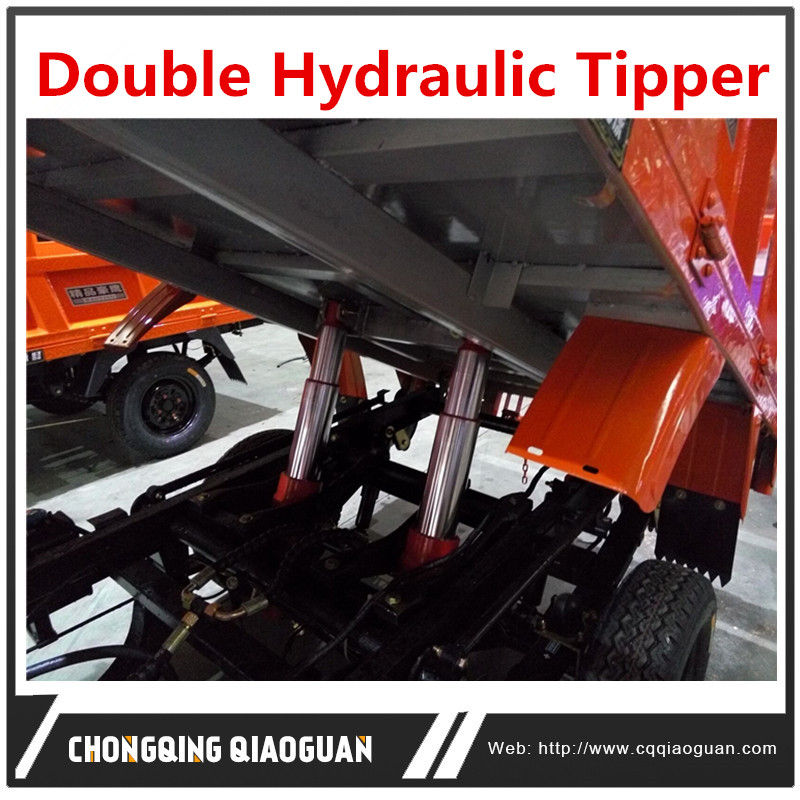 Popular china vehicle double hydraulic tipper tricycle transport goods