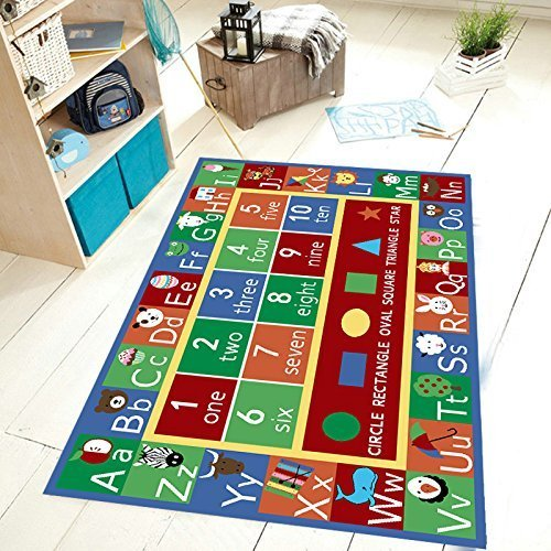 Furnish my Place Kids Rug ABC Alphabet Numbers and Shapes Educational Area Rug Non Skid Backing, Rectangle