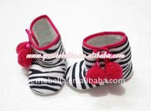 Black White Zebra with Cherries Newborn Baby Boots Pettishoes MASB13