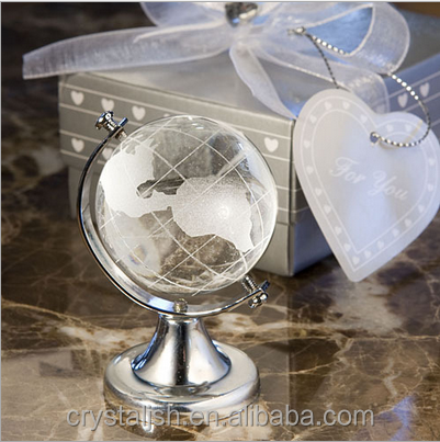 Decorative Crystal Desktop World Globe Crystal Ball With World Map For Wedding Table Centerpiece Gifts