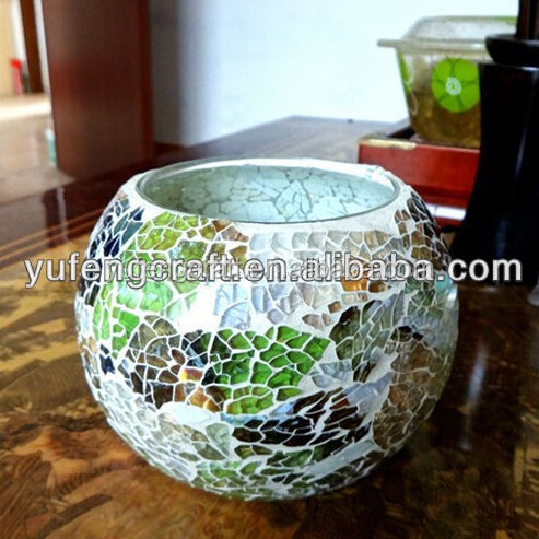 hand made crackle glass mosaic candle holders mosaic jar good for home decor holiday gift solar lamp use in garden