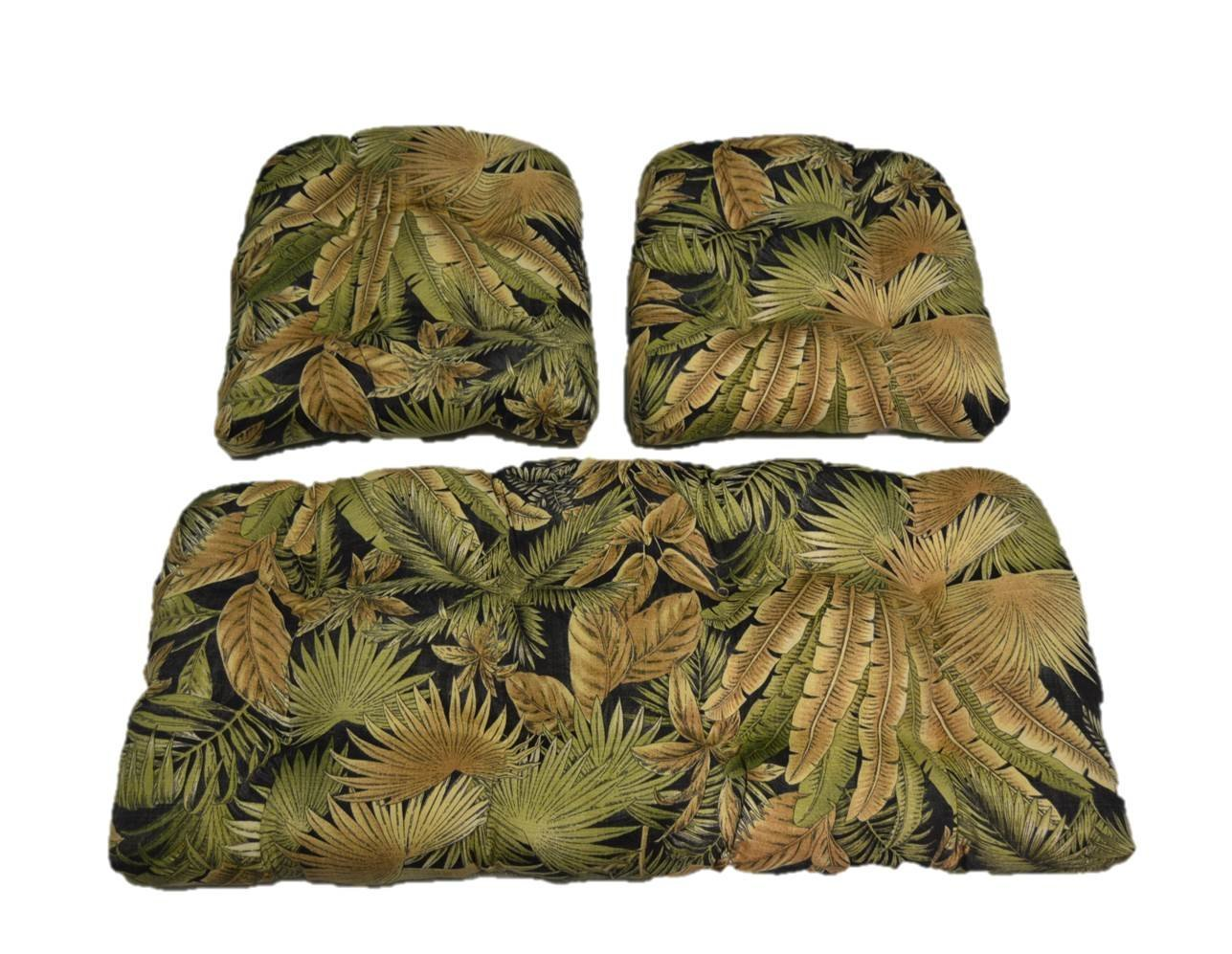 Tommy Bahama Black Green Tan Tropical Palm Leaf Bahama Breeze Cushions for Wicker Loveseat Settee & 2 Matching Chair Cushions