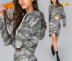 Women Spring Pullover Clothing Distressed Camo Cropped Top Hoodie