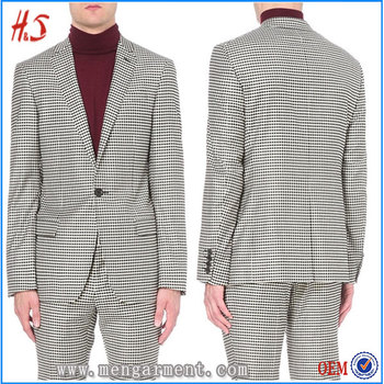 40 Men's Fashion Allover Woven Check Pattern Wool Jacket Tailored Adorable Mens Blazer Pattern