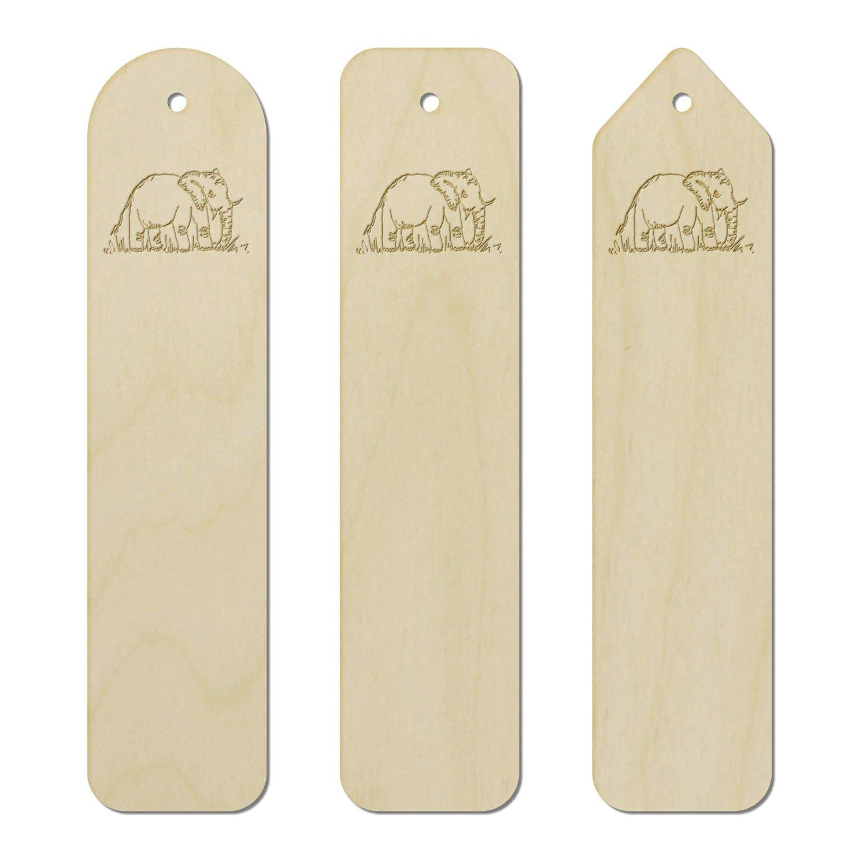 3 x 'Elephant' Engraved Birch Bookmarks (BK00007298)