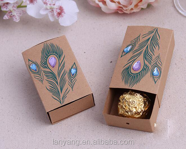 Wholesale Indian Wedding Favor Gift Boxes Jeweled Peacock Kraft