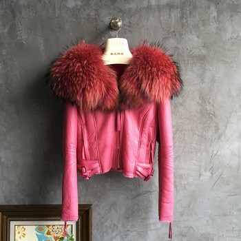 Short Shorn Sheepskin Double faced Leather Jacket with Large Raccoon Fur Collars Coat