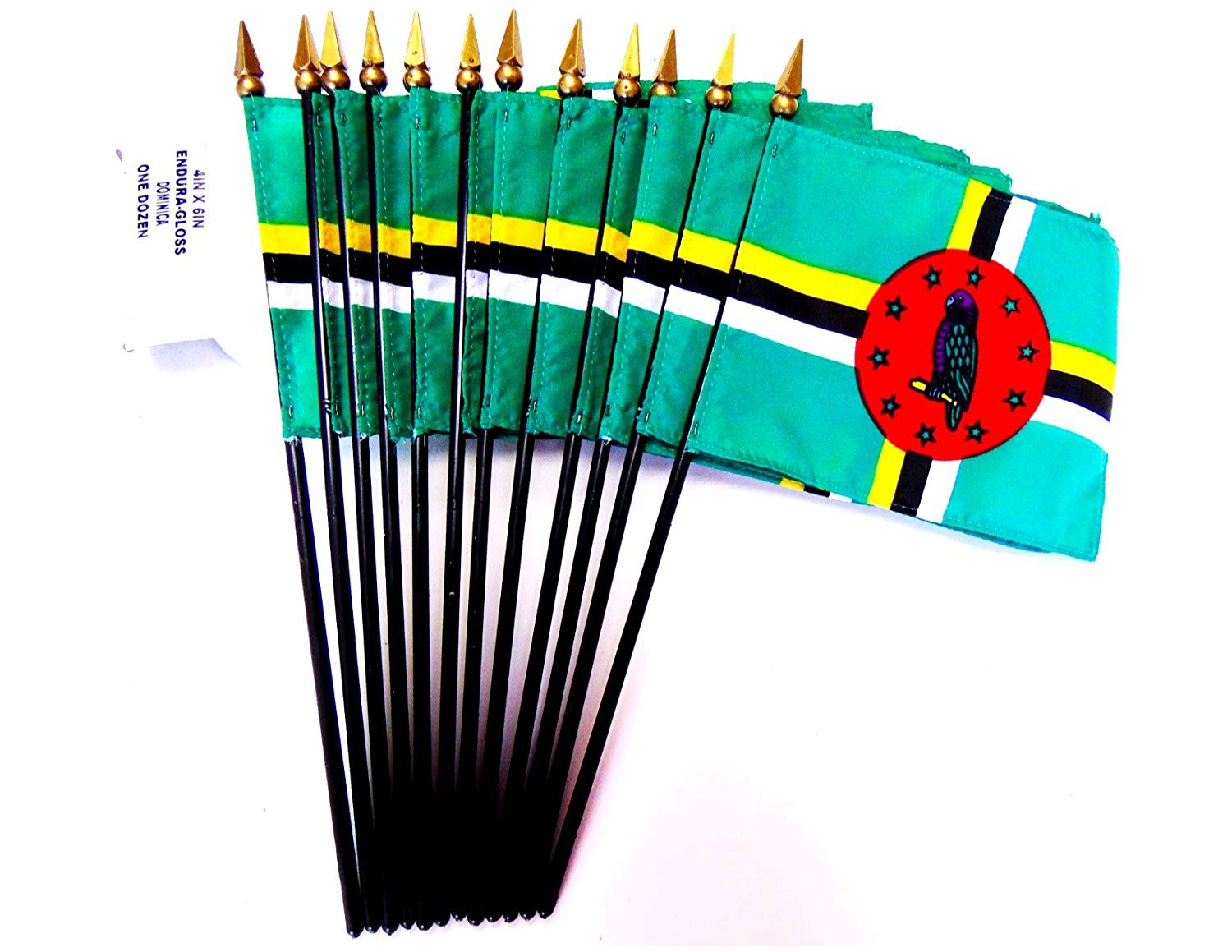 """MADE IN USA!! Box of 12 Dominica 4""""x6"""" Miniature Desk & Table Flags; 12 American Made Small Mini Dominican Flags in a Custom Made Cardboard Box Specifically Made for These Flags"""
