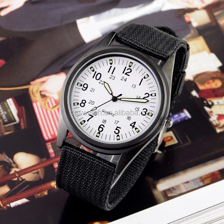 Matt black case men wrist watch Army style sports watch for men
