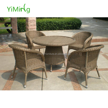 Classic Patio Furniture Wicker Cane Dining Set Outdoor Rattan