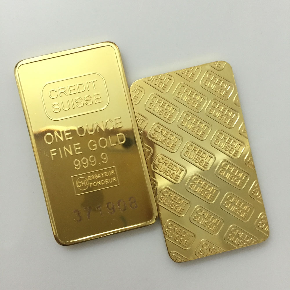 Customizes <strong>Logo</strong> 1oz CREDIT SUISSE Gold Plated Bar with Layered Laser Serial Number Replica Gold Bars for sale