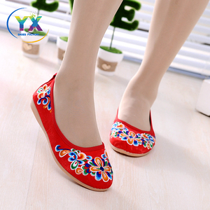 new feminine delicate ladies embroidered shoes red stylish casual