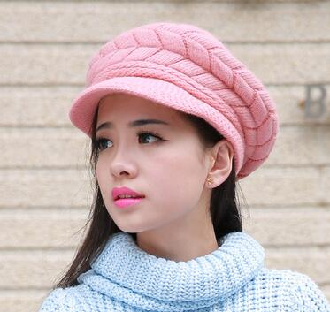 2016 Hot selling patch visor hats bow fleece warm wool skull caps Pompom Crochet knitted Slouch Oversized Beanie winter hats