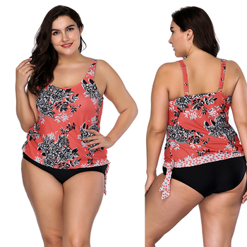 Wholesale Light Orange Side Knotted Large Size Flower Tankini Plus Size Swimwear