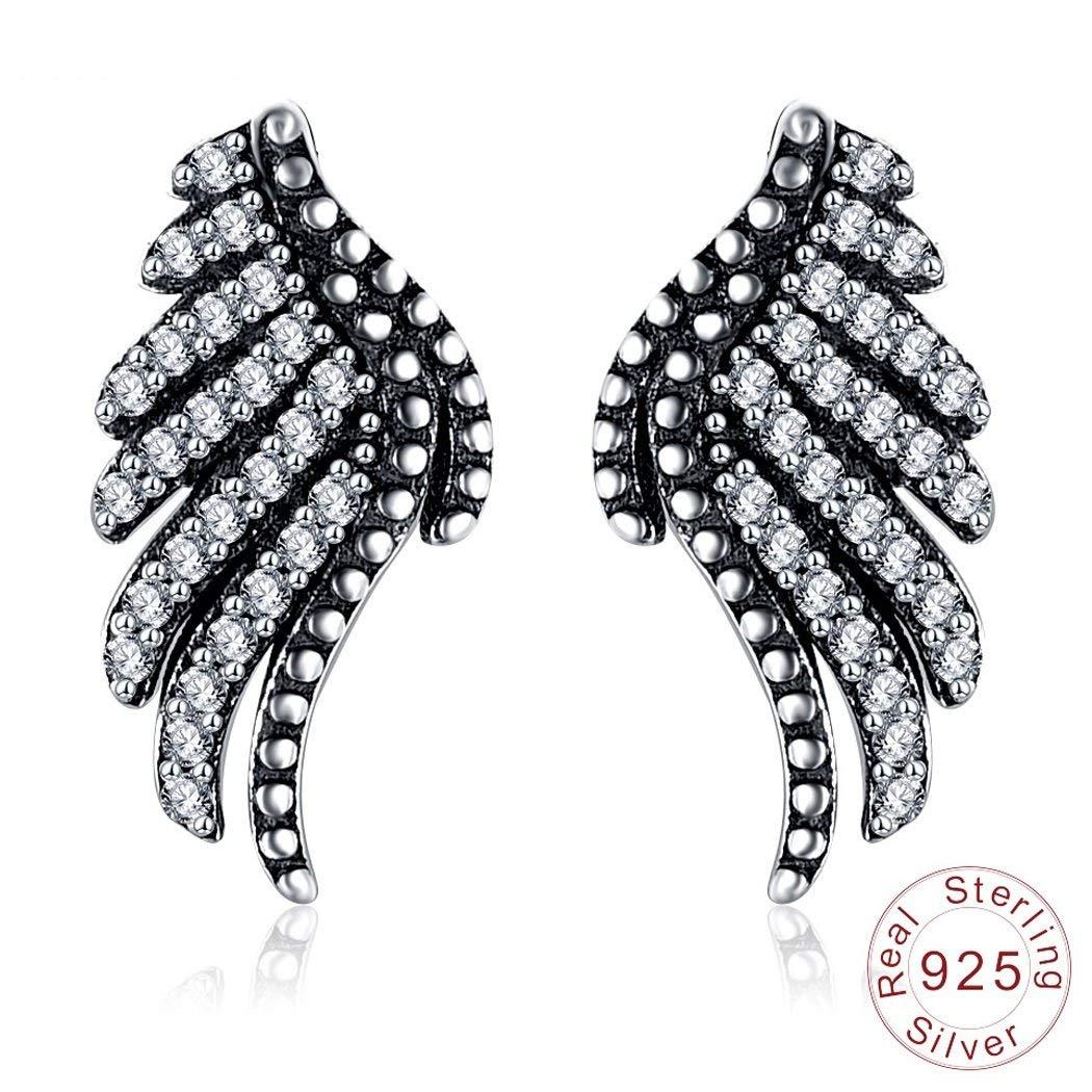 JUNBOSI Women's Earrings 925 Sterling Silver Eagle Wing Diamond Ear Studs Earings For Woman Silver Earrings Studs Vintage Jewellery Gifts For Women Girls