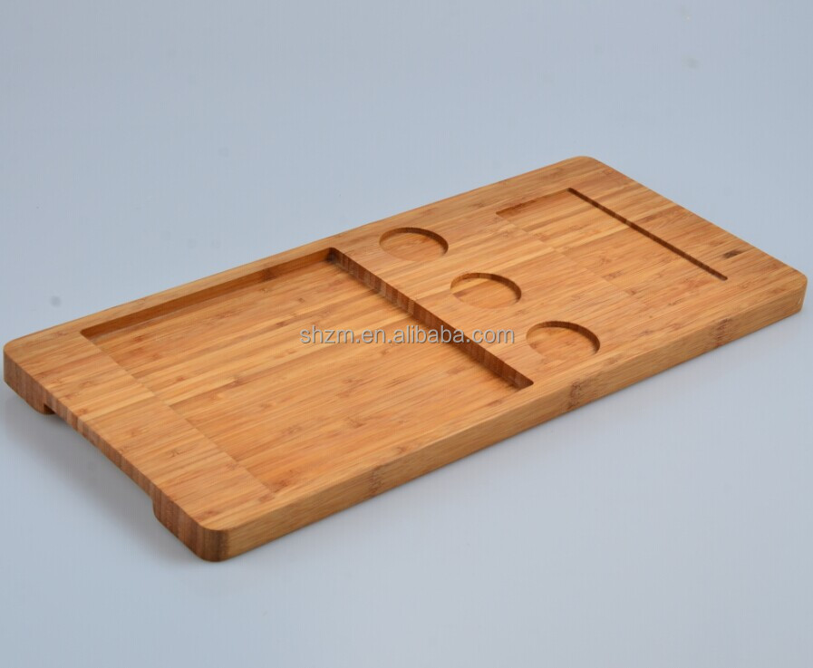 Wholesale Natural Bamboo Handles Serving Tray with Phone Holder and Cup Holder kitchenware