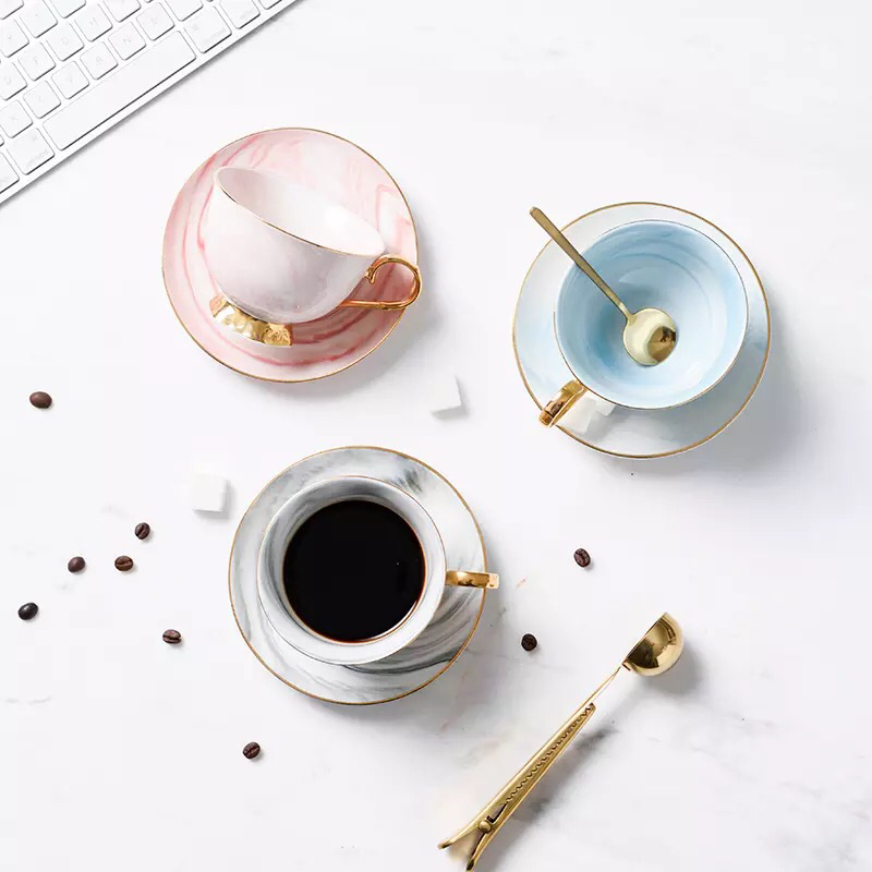 Customized size royal marble modern ceramic coffee cups teacup and saucer for restaurant