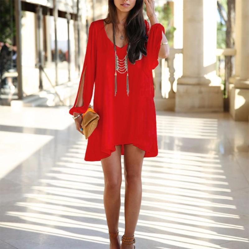 578ade8c069 New Summer Chiffon Short Dress Women Loose Sexy V Neck Strapless A ...