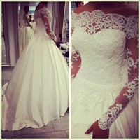 LY18 2016 Lace Ball Gown Wedding Dresses Boat Neck 3/4 Sleeve Custom Made Plus Size Princess Bridal Gowns Best Quality