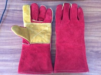 "14"" cow split leather welding working gloves with reinforced full palm and thumb"