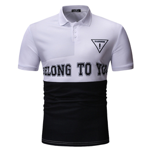 OEM ODM China Factory Male Apparel Two Tone White Black Contrast Color Turtleneck Polo Shirt Clothing