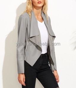 Hottest China Wholesale High Quality Woman Jacket Waterfall PU Jacket in light grey