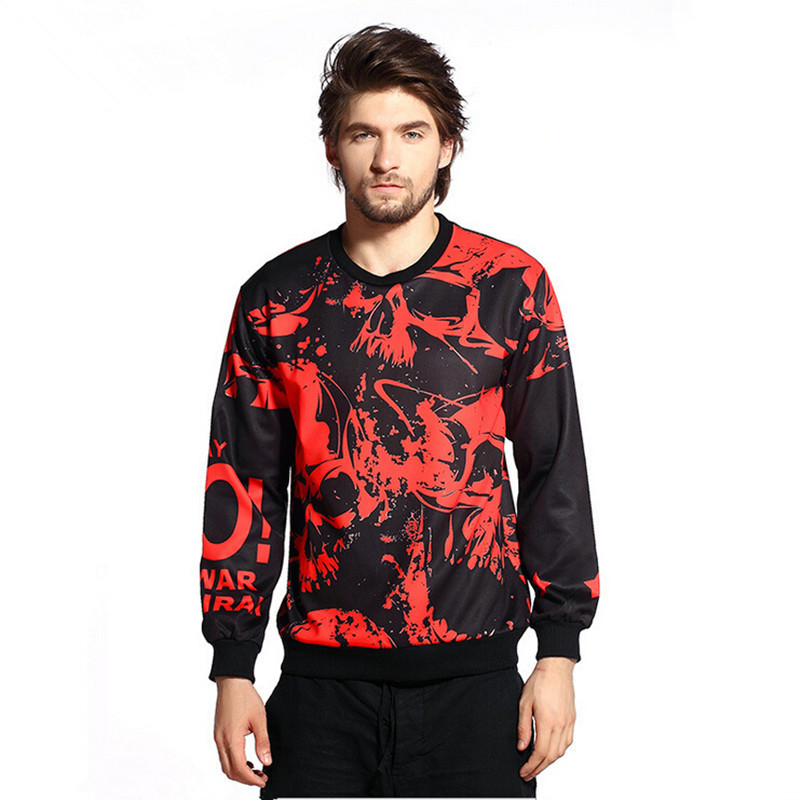 New Arrival Men's Fashion O-neck Long Sleeve Casual Sweatshirts Men Sportswear Hip-hop Red Skull Print  Hoodies Mens Sweatshirts