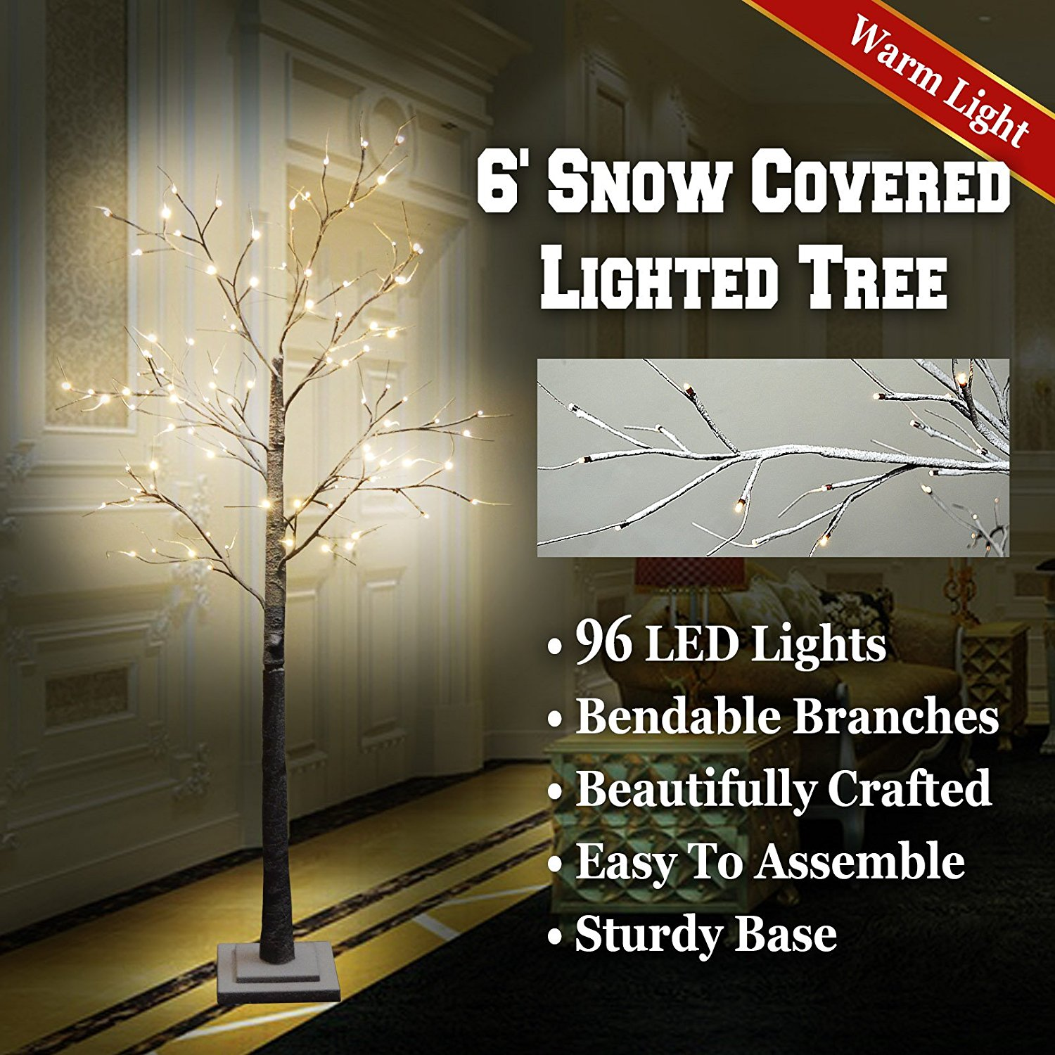 BenefitUSA 6FT 96L LED Snow Tree Snow Flake Decoration Light Indoor and Outdoor Use Warm White