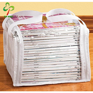 Clear PVC waterproof foldable storage box w handles, magazine book organizer carry bag