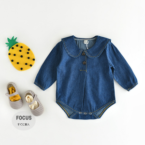 PHB60783 baby girls fashion denim rompers good seller 2017
