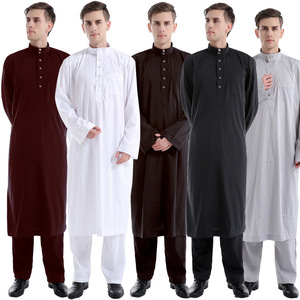 darcon muslim pure color two-piece man thobe suit