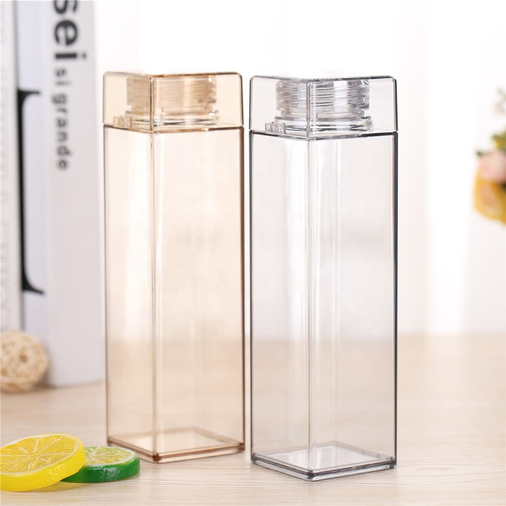 Drinking Plastic Square Water Bottle Flat AS 430ml BPA Free Water Bottle with Wood Lid