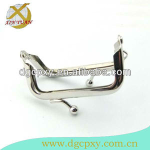 "2.6"" mini nickel plated single carry ring metal purse frame,also called ladies popular metal handbag frame"