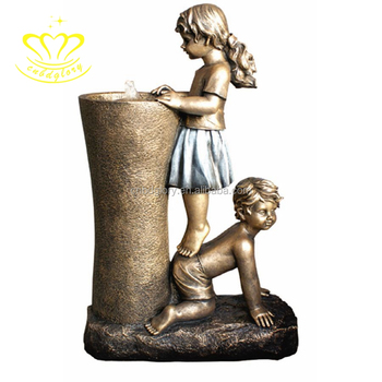 Customize New product metal bronze Baby boy and girl water fountain sculpture for garden home decor