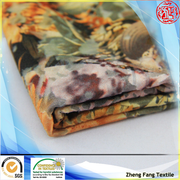 2014 floral style burnout knitting digital printing knitted fabric and garment