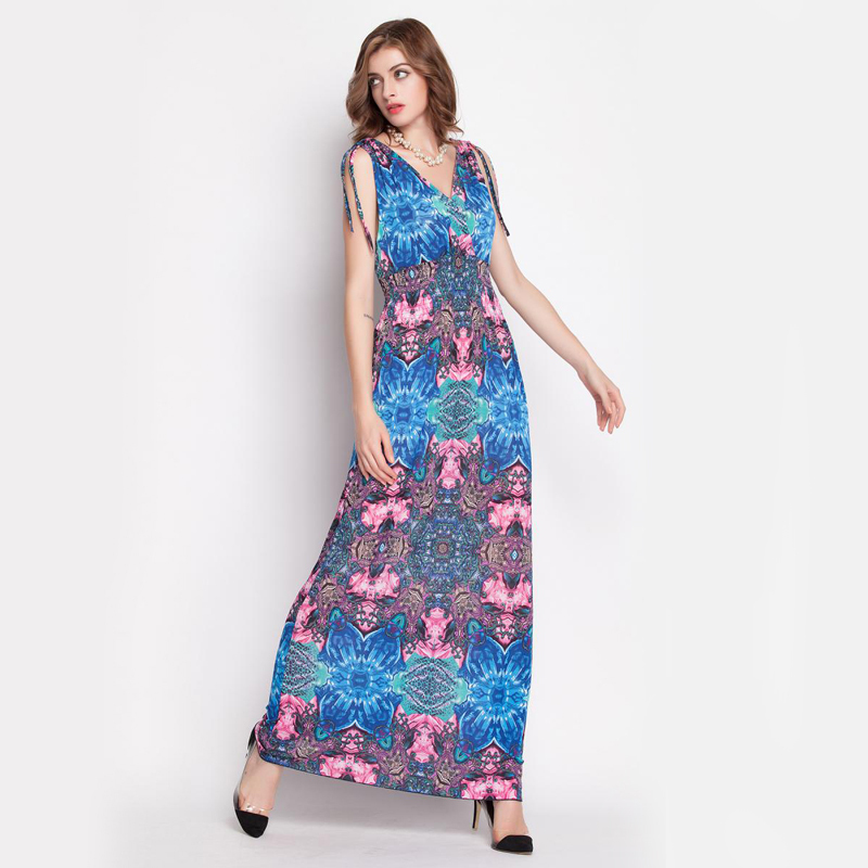 e82cf7771206 Get Quotations · Womens Summer style Dresses 2015 Boho Empire V-neck bodycon  Maxi Dress Vestido De Festa